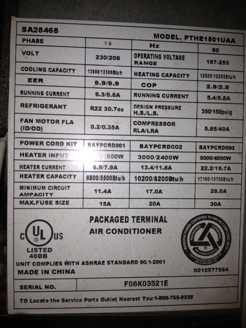 Trane Packaged Terminal Air Conditioner Unit